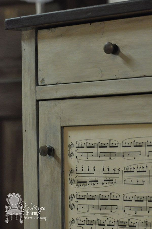 Small Wooden Cabinet Madeover into a Music Cabinet - Vintage Charm Restored