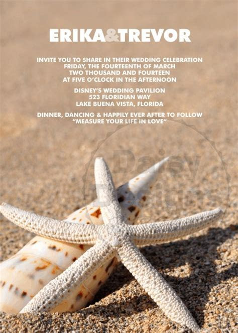 Sandy Starfish Wedding Invitation by Daisy Designs