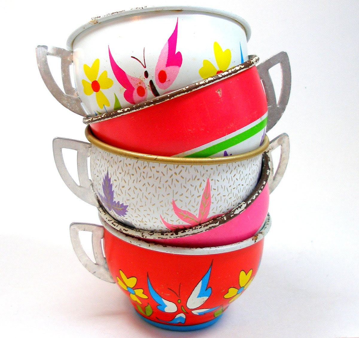 50s Tin Toy Tea cups, BUTTERFLY graphics on 5 metal, Spring set. - OldeTymeNotions