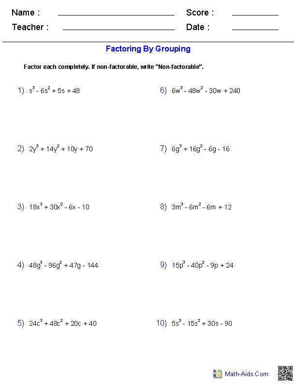 Algebra 2 Worksheets Polynomial Functions Worksheets