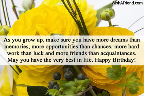 As You Grow Up Make Sure Inspirational Birthday Message