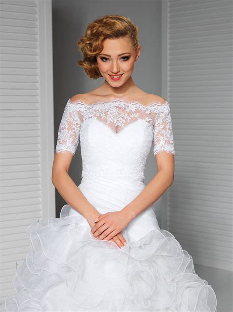 White Wedding Lace Top Off the shoulder Bridal Bolero
