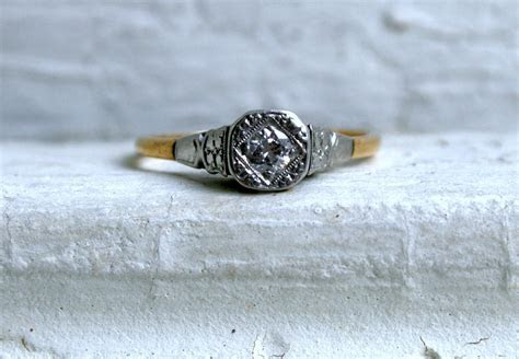 Simple Vintage Engagement Ring Yellow White Gold   OneWed.com