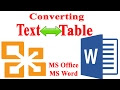 MS WORD: Converting Table to text and Text to Table easily