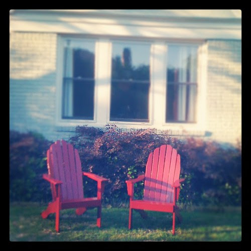 {Day 9: Red} #Red Adirondacks at our first home - I miss our little blue cottage! #marchphotoaday also: #flashbackfriday