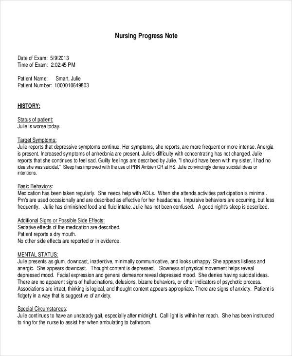 Psychotherapy Progress Note Template Pdf ...