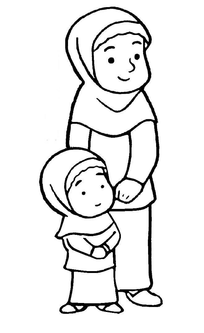 10 Gambar Mewarnai Anak Muslim Untuk Anak Paud Dan Tk Auto