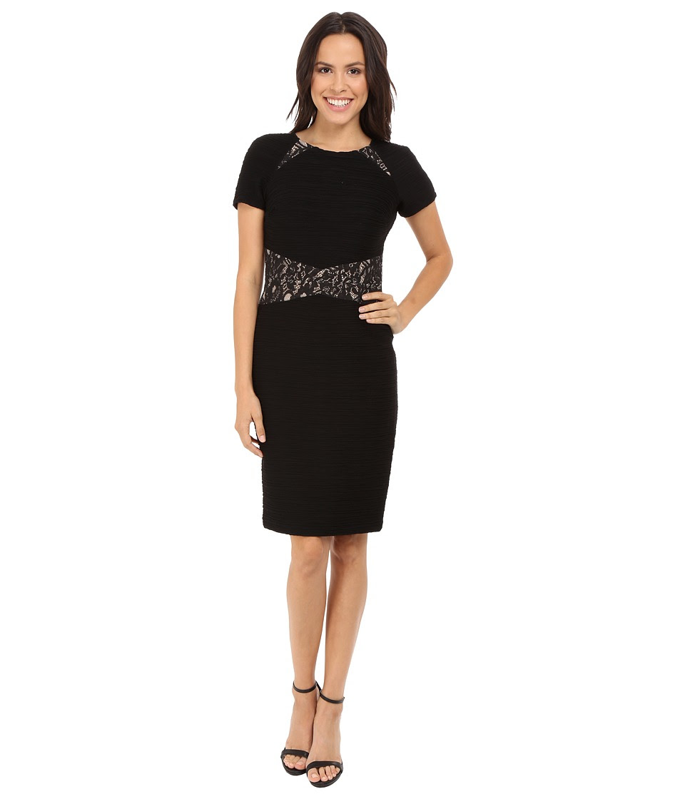 NUE by Shani - Ottoman Knit Dress w\/ Lace Inset at Waist and Shoulder Detail (Black\/Nude) Women's Dress