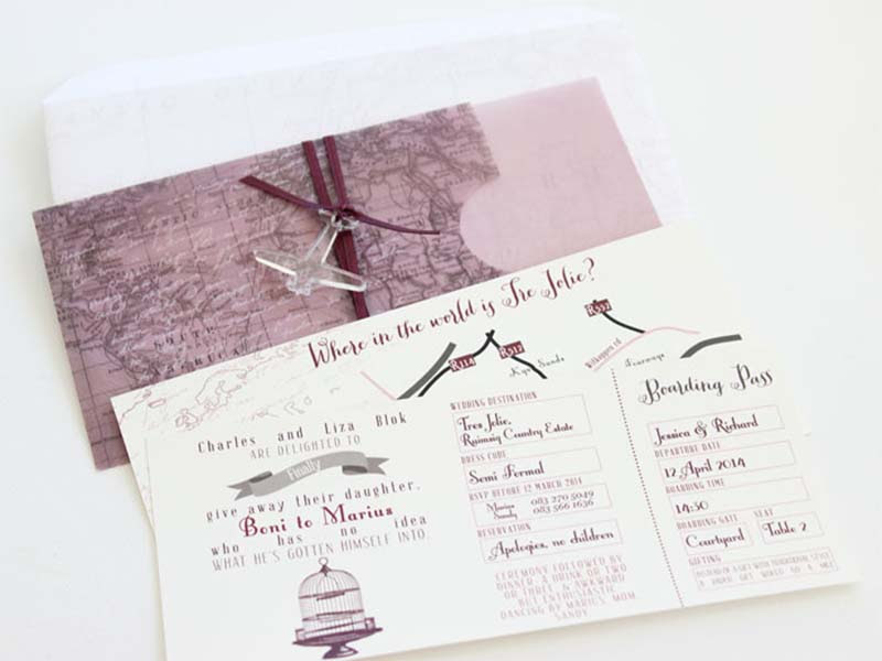 K'Mich Weddings - wedding plannng - Boarding Pass Invitation - Secret Diary