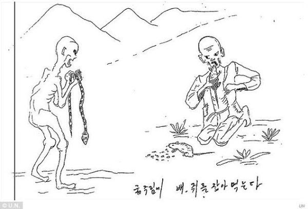 Image is of prisoners relying on grass, mice, snakes, and even ants to allay their hunger.