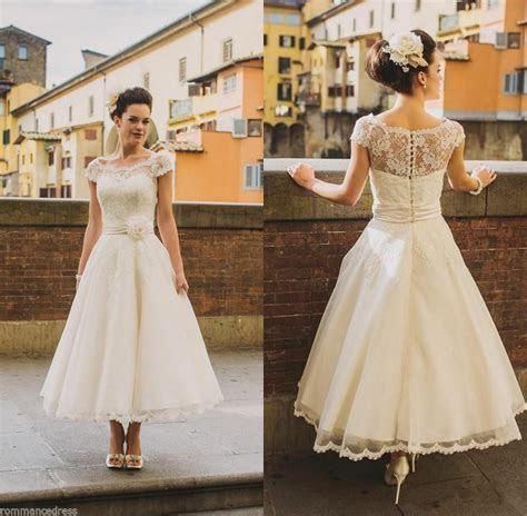 New Sheer Lace Wedding Dress White Ivory Short Sleeve Tea