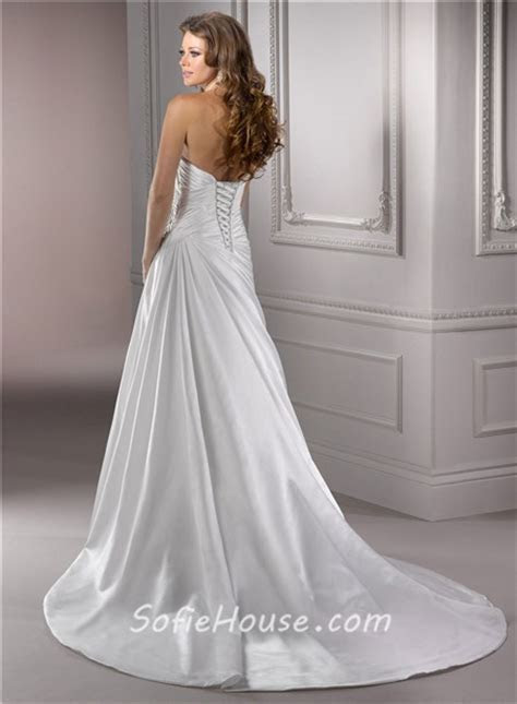Classic A Line Sweetheart Corset Back Satin Wedding Dress
