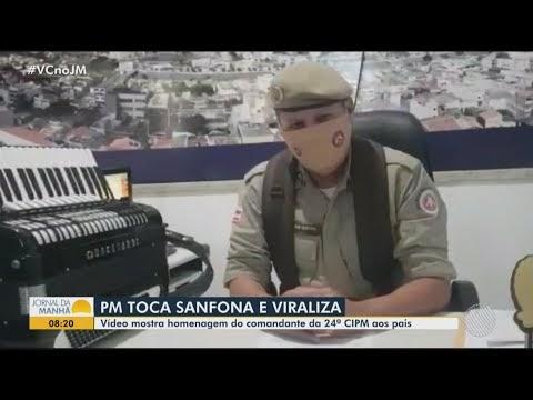 Comandante da 24ª CIPM é destaque na Bahia ao tocar sanfona para os pais e irmão