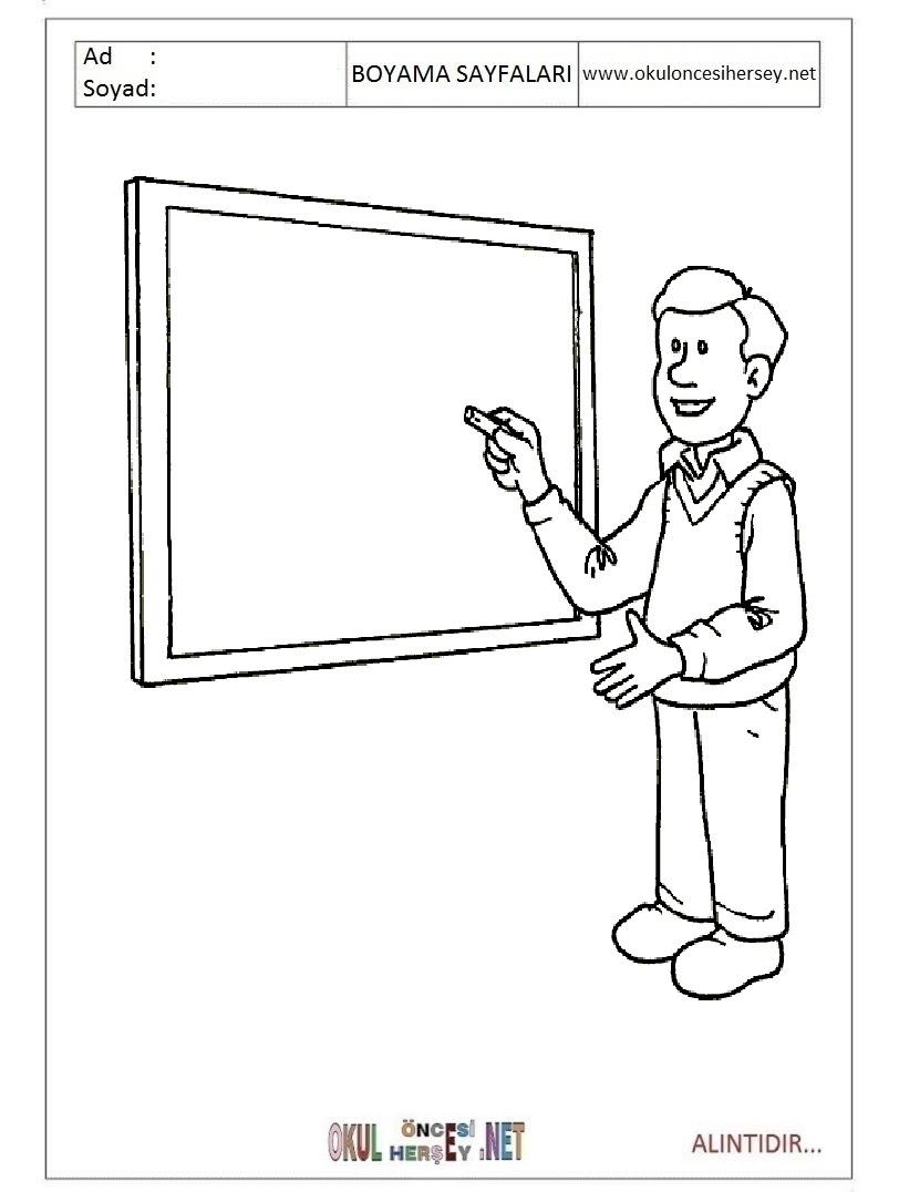 öğretmen Boyama Sayfaları