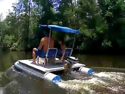 Mini Pontoon Boat On Perdido River - YouTube