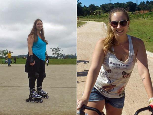 Ela descobriu a paixão pelo patins e acredita que encontrar o prazer em algum esporte é uma dica importante para perder peso; fotos mostram antes e depois (Foto: Arquivo pessoal)
