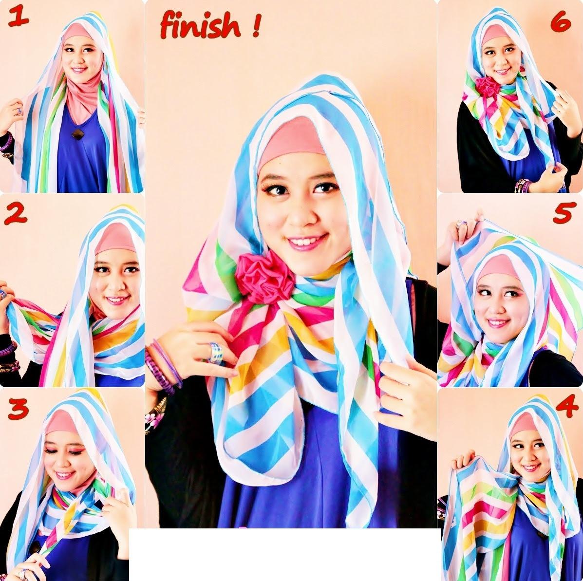20 Gambar Lengkap Tutorial Hijab Pesta Berkacamata Paling Baru