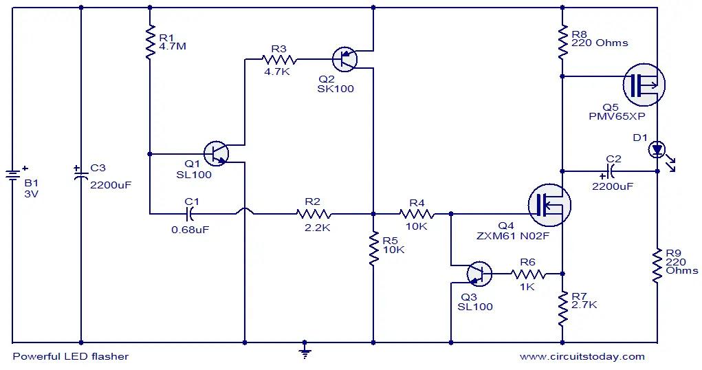 powerful LED flasher circuit