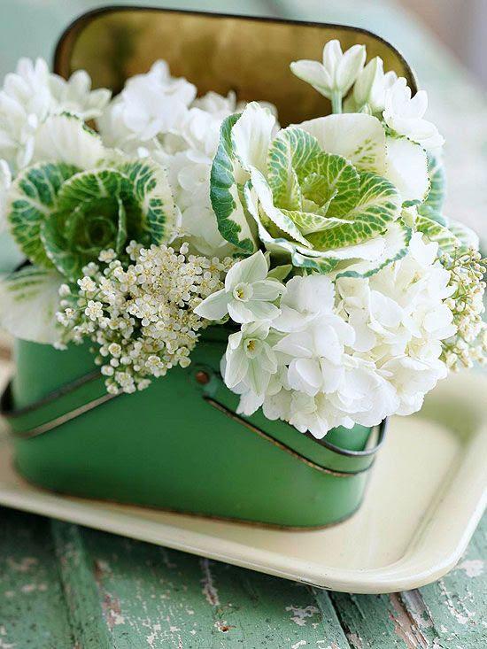 kale and hydrangea arrangement