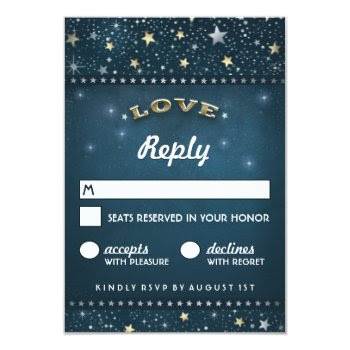 Teal Gold & White Love And Stars 3.5x5 Rsvp 3.5x5 Paper Invitation Card by juliea2010 at Zazzle