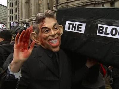 Protests as Blair before war inquiry