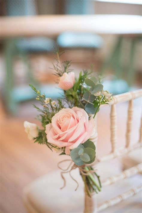 Soft Pink Rustic Winter Wedding   Wedding Pew End & Aisle