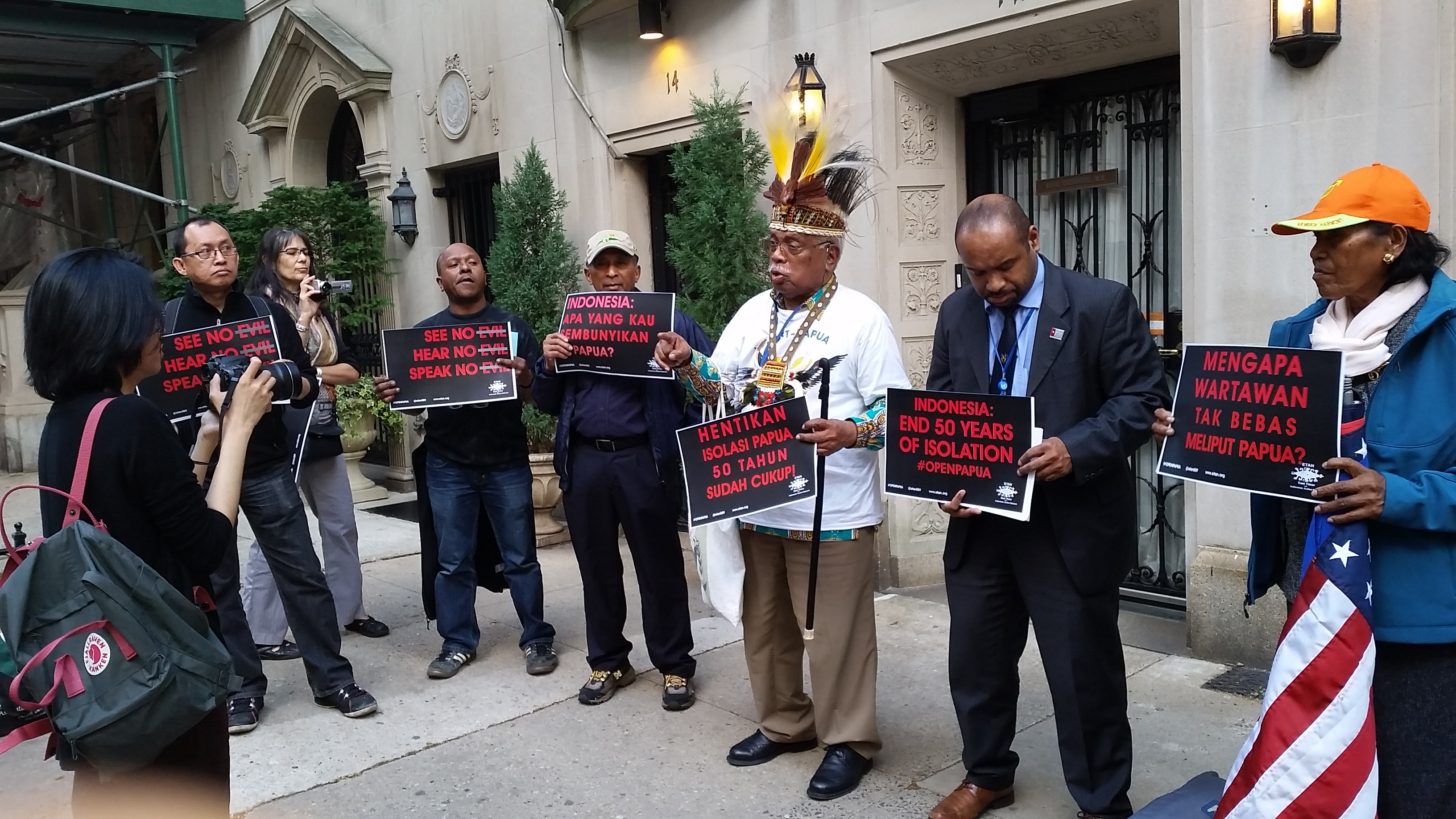 NYC #openpapua demonstration at Indonesian consulate