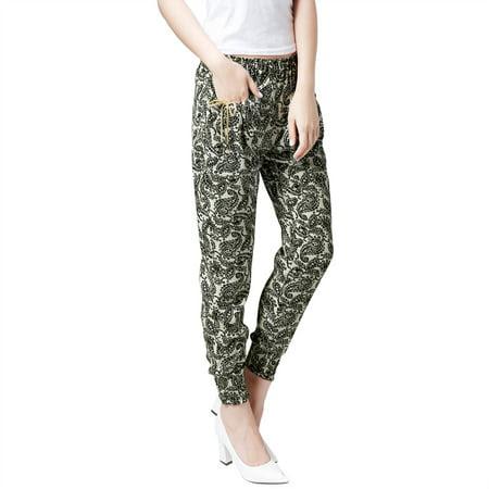 Allegra K Women's Elasticized Waist Loose Fit Pants Beige (Size XL \/ 16)
