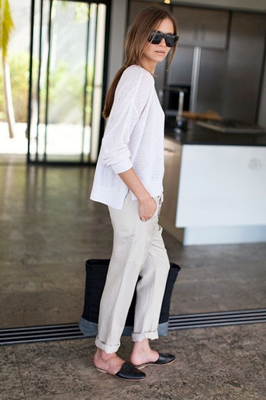 Le Fashion Blog Whites Neutrals Emerson Fry SS 2014 Lookbook White Carolyn Sweater In Lattea Slouchy Pant in Flax Linen Pants Black Leather Emerson Slides Slip On Flats 7 photo Le-Fashion-Blog-Whites-Neutrals-Emerson-Fry-SS-2014-Linen-Pants-Slides-7.jpg