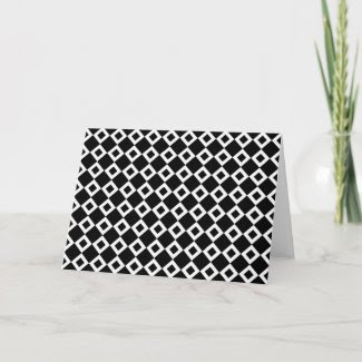 Black and White Diamond Pattern Greeting Card