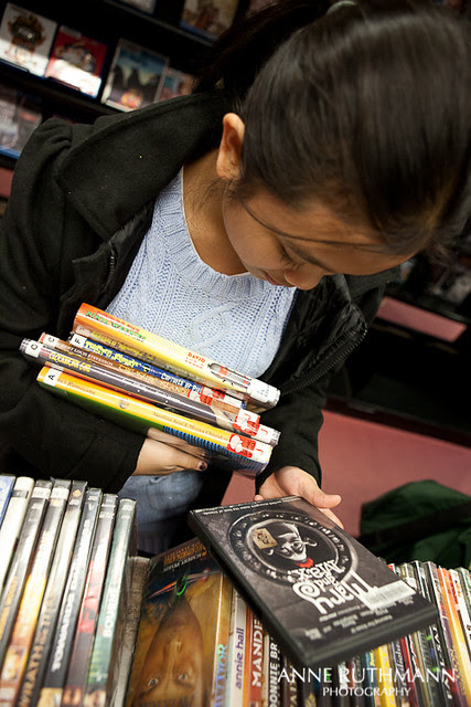 Picking out DVDs at Library