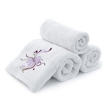 pas cher serviette de bain brod e fleur blanche 70x140 cm magasin fleur. Black Bedroom Furniture Sets. Home Design Ideas