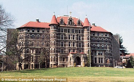 Campus tragedy: Chestnut Hill College professor Rudolf Alexandrov was teaching in St Joseph's Hall when he suddenly became agitated and eventually jumped to his death