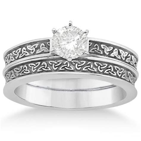 Carved Irish Celtic Engagement Ring & Wedding Band Set 14K