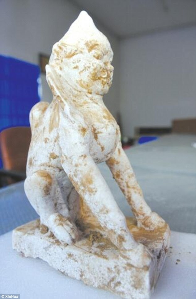 A rare well-preserved marble sphinx carving has been unearthed  dating back more than 1,000 years