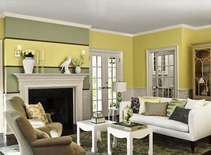 Cat Interior Ruang Tamu Biru | Ide Rumah Minimalis