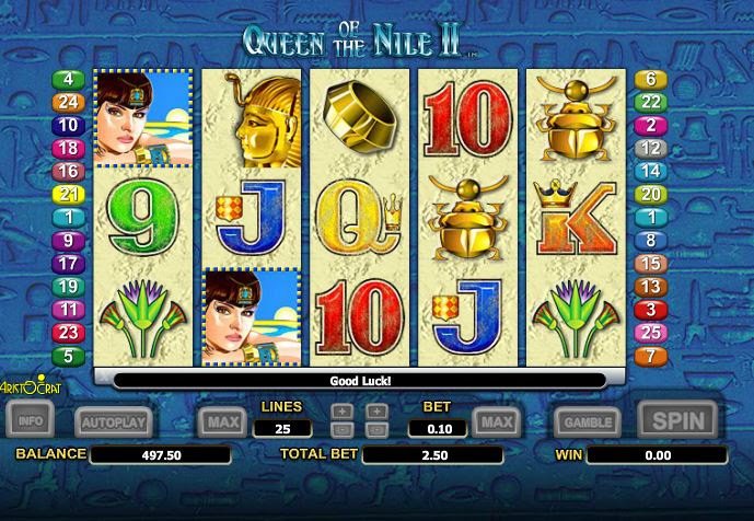 28/02/ · Queen of the Nile is a classic online slots game from Aristocrat software provider.It possesses 5 reels, 3 symbol rows, 20 paylines, scatters, wilds, a gamble feature & free spins.Users may choose to play 20, 15, 10 lines or 1 line and set the number of coins per payline (from 1 to 50), so the minimal stake is 1 coin a spin, and the maximal stake is coins.4,2/5().