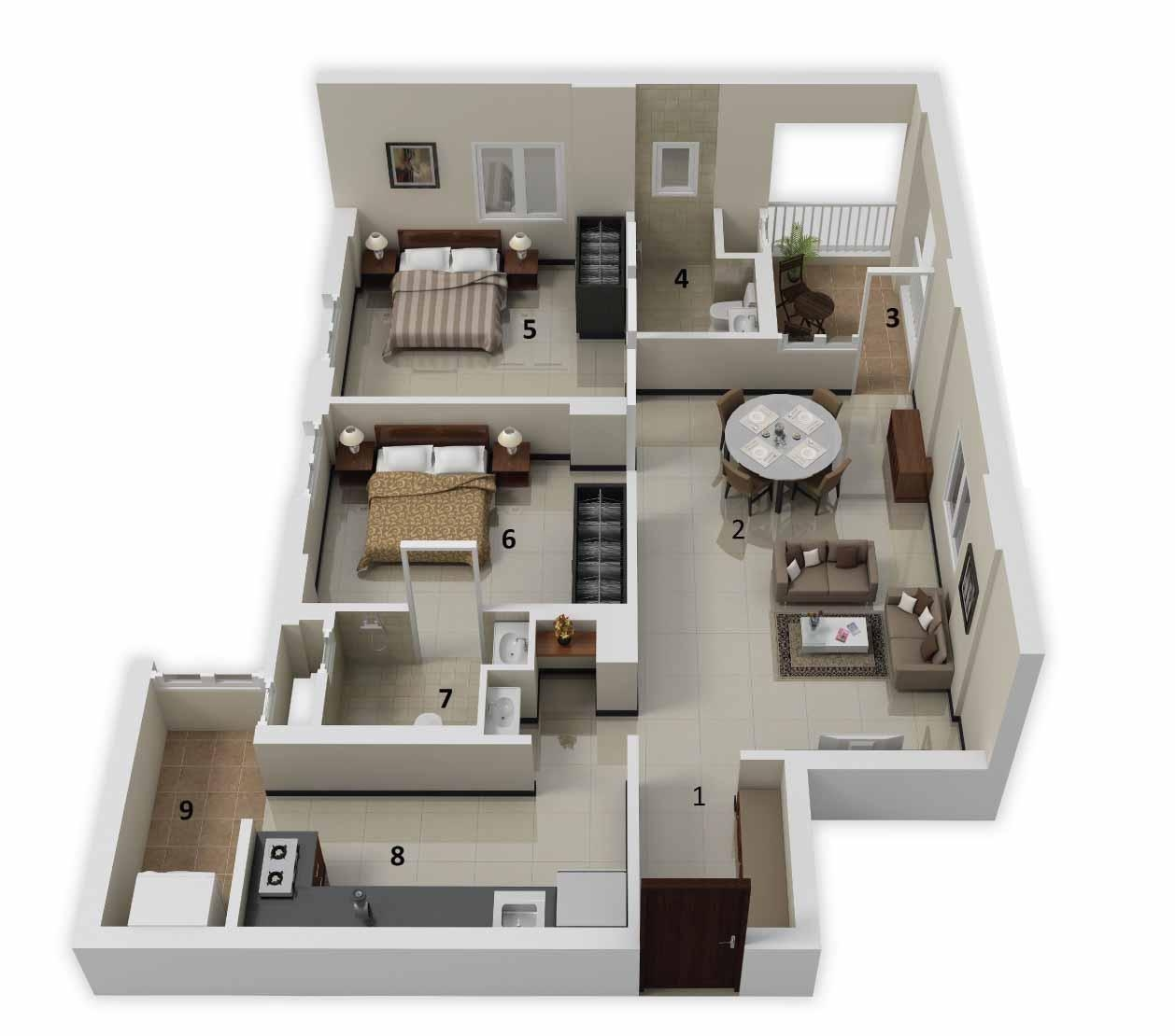 25 More 2 Bedroom 3D