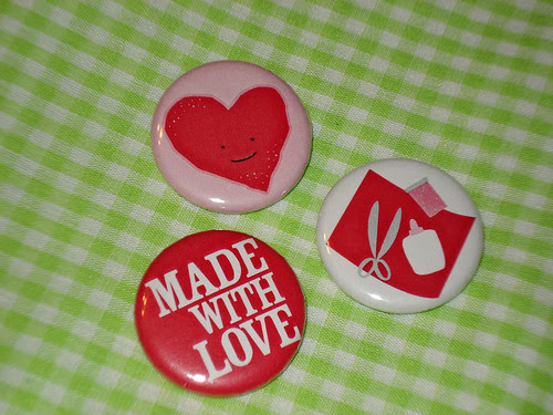 Made With Love Valentine Buttons