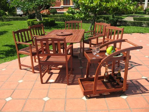 Brand names 8pc Outdoor Wood Patio Dining Furniture Set | Patio ...