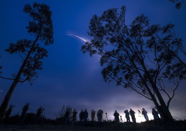 A Delta II rocket carrying the Soil Moisture Active Passive (SMAP) satellite launches from Vandenberg Air Force Base in California...on January 31, 2015.