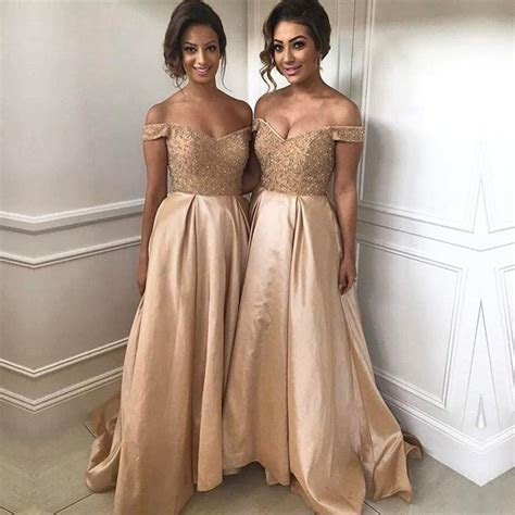 Off The Shoulder Bridesmaid Dresses 2019 Champagne Gold