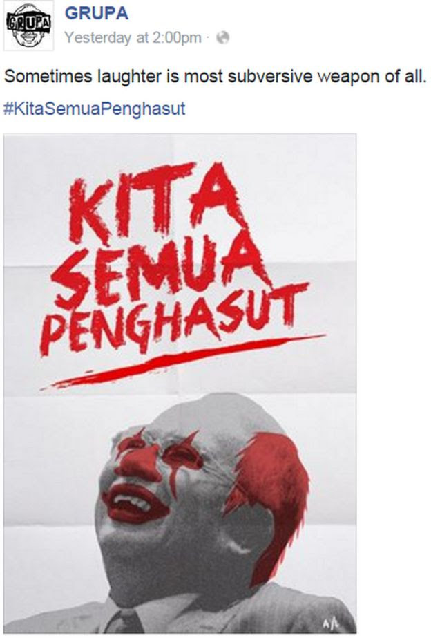 Image of Malaysian prime minister as a clown