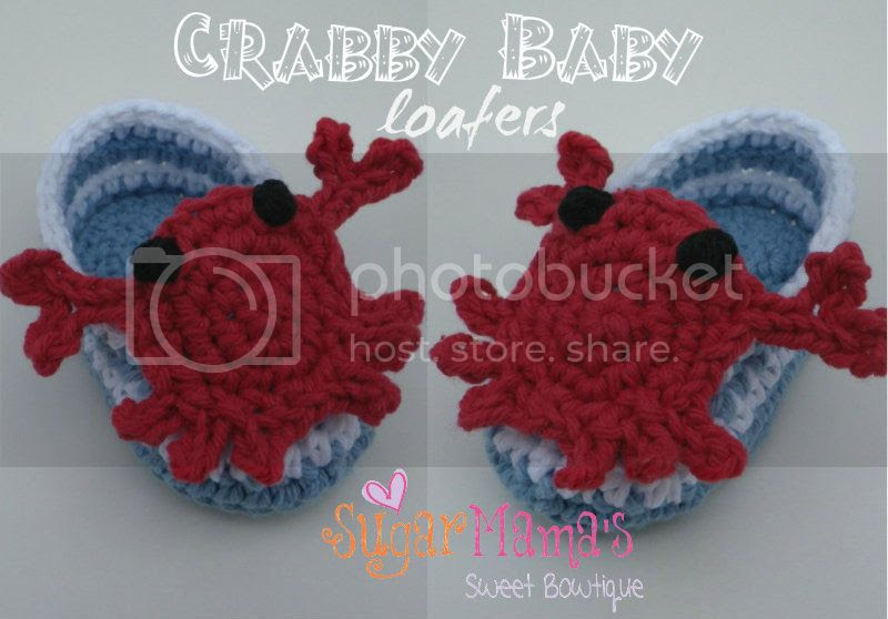 Crabby Baby Loafers Crochet Pattern by Amanda Moutos Designs