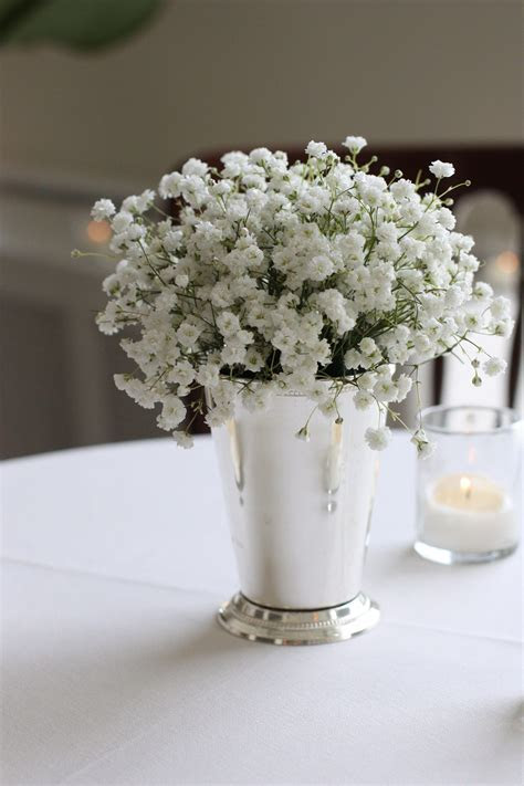 baby's breath in gold toned julep cups   Wedding BB