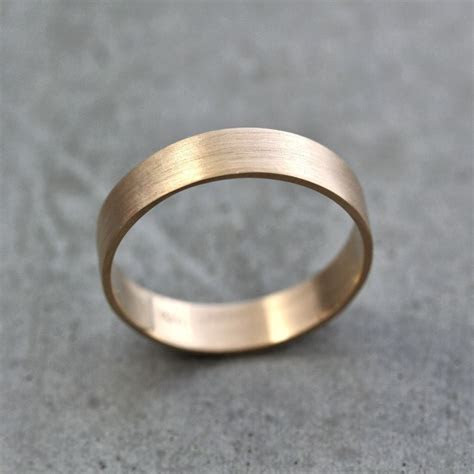 mens gold wedding band unisex mm wide brushed flat