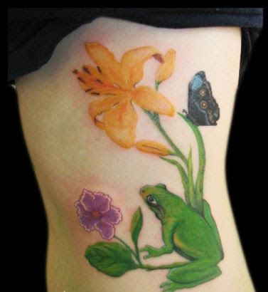 Frogbutterfly And Flower Tattoo