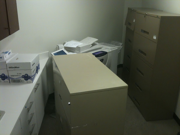 new printer/file room on Day One