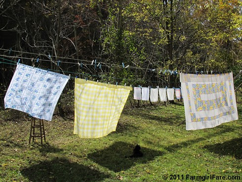 Vintage spring linens on the autumn laundry line 6 - FarmgirlFare.com