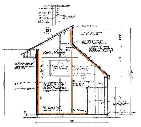 8x12 clerestory shed plans 10 wall section